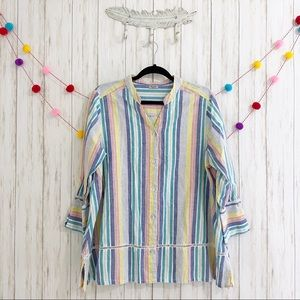 Symple NYC linen striped blouse LARGE